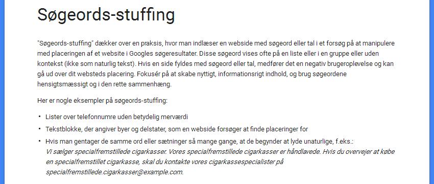 Google om søgeords stuffing eller keyword stuffing
